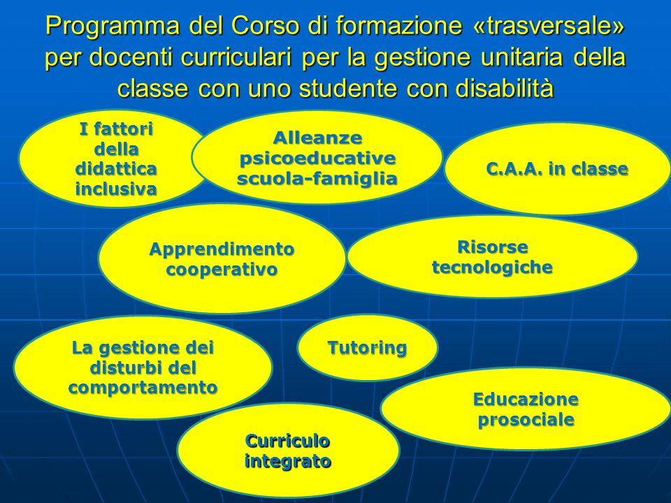 Programma del Corso di formazione «trasversale» per docenti curriculari per la gestione unitaria della classe con uno studente con disabilità
