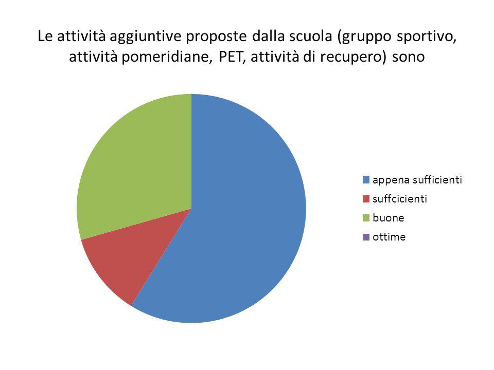 Le attività aggiuntive proposte dalla scuola (gruppo sportivo, attività pomeridiane, PET, attività di recupero) sono