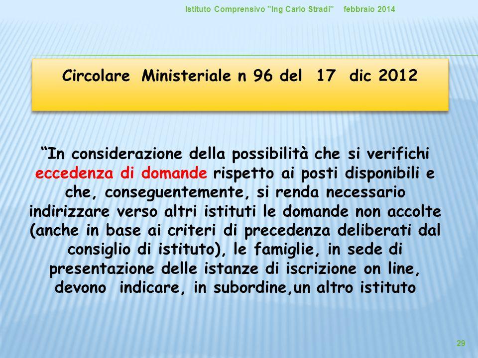 Circolare Ministeriale n 96 del 17 dic 2012