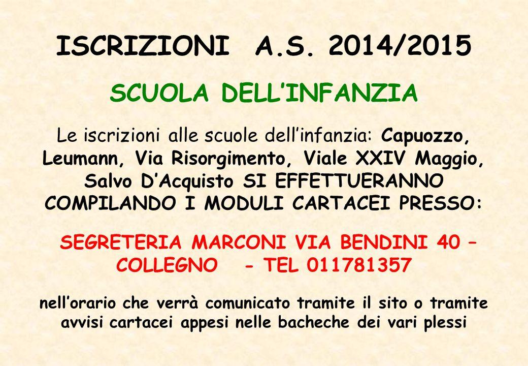 SEGRETERIA MARCONI VIA BENDINI 40 – COLLEGNO - TEL 011781357
