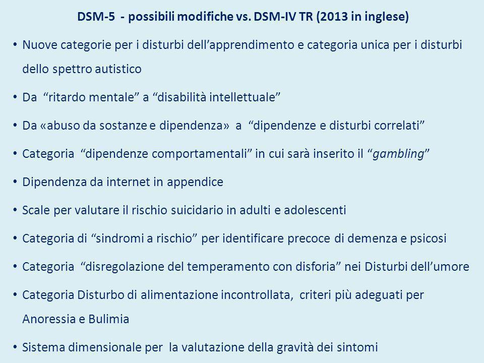 DSM-5 - possibili modifiche vs. DSM-IV TR (2013 in inglese)