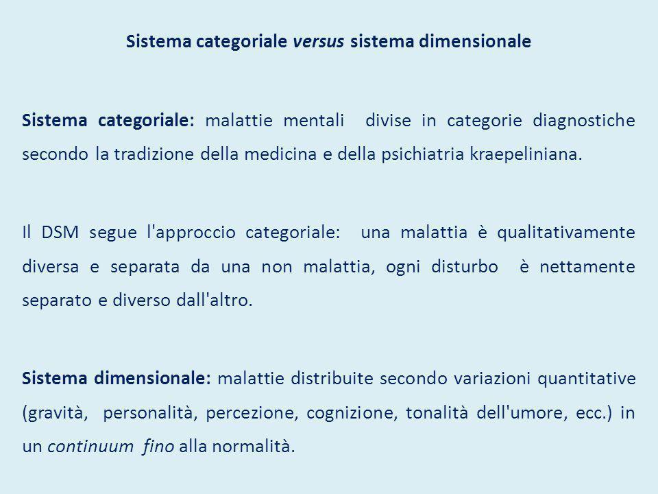 Sistema categoriale versus sistema dimensionale Sistema categoriale: malattie mentali divise in categorie diagnostiche secondo la tradizione della medicina e della psichiatria kraepeliniana.