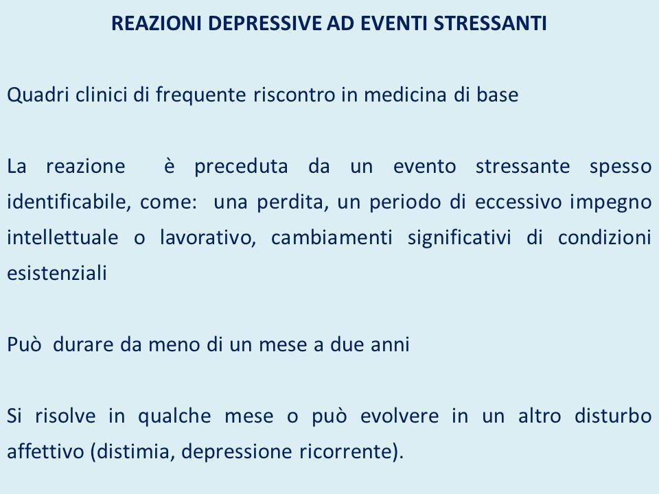 REAZIONI DEPRESSIVE AD EVENTI STRESSANTI