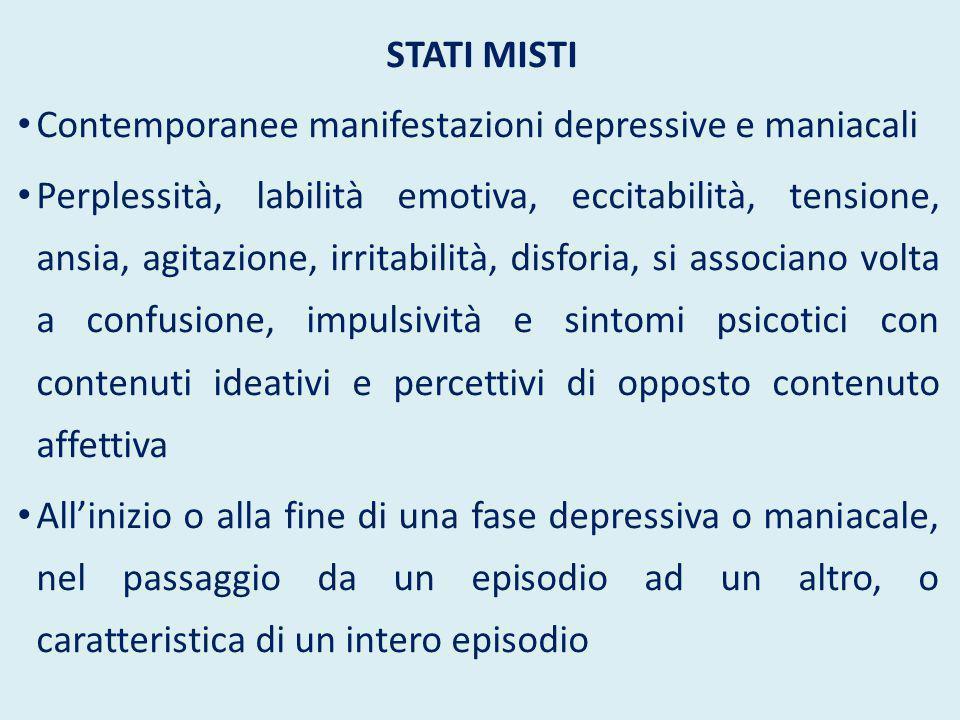 Stati misti Contemporanee manifestazioni depressive e maniacali.