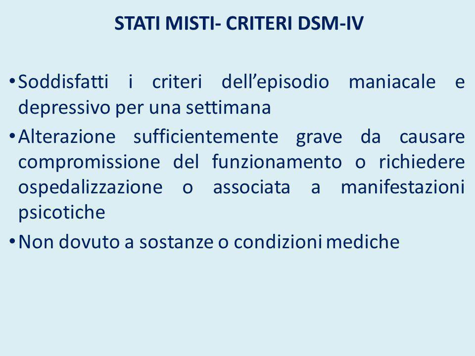 Stati misti- Criteri DSM-IV