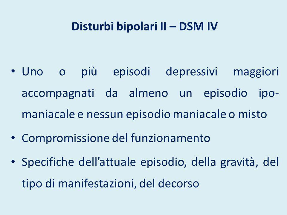 Disturbi bipolari II – DSM IV
