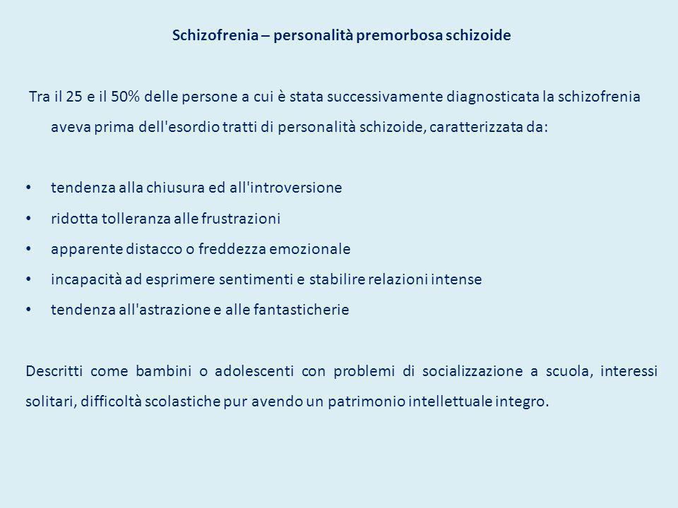Schizofrenia – personalità premorbosa schizoide