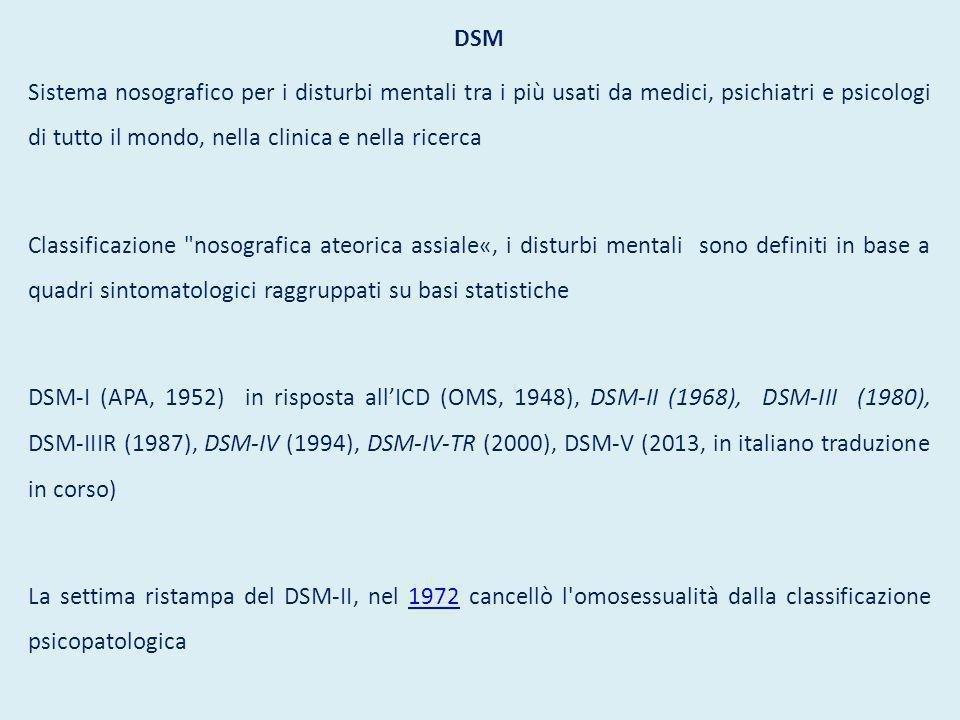DSM Sistema nosografico per i disturbi mentali tra i più usati da medici, psichiatri e psicologi di tutto il mondo, nella clinica e nella ricerca Classificazione nosografica ateorica assiale«, i disturbi mentali sono definiti in base a quadri sintomatologici raggruppati su basi statistiche DSM-I (APA, 1952) in risposta all'ICD (OMS, 1948), DSM-II (1968), DSM-III (1980), DSM-IIIR (1987), DSM-IV (1994), DSM-IV-TR (2000), DSM-V (2013, in italiano traduzione in corso) La settima ristampa del DSM-II, nel 1972 cancellò l omosessualità dalla classificazione psicopatologica