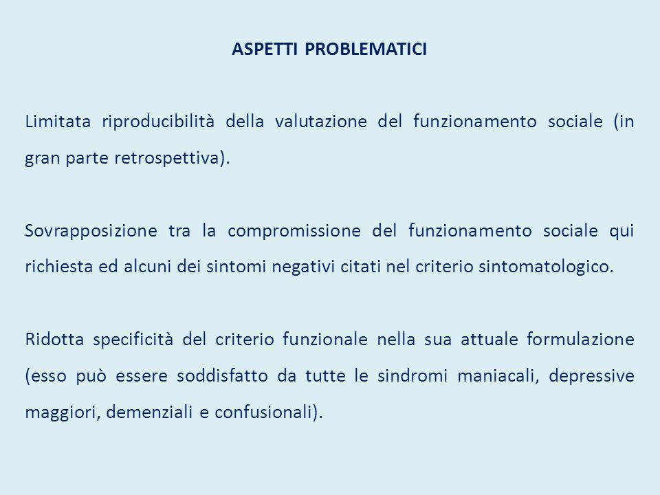 ASPETTI PROBLEMATICI Limitata riproducibilità della valutazione del funzionamento sociale (in gran parte retrospettiva).