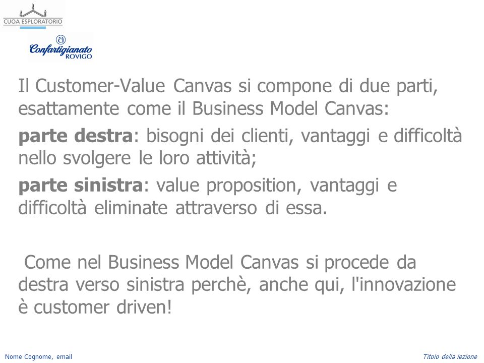 Il Customer-Value Canvas si compone di due parti, esattamente come il Business Model Canvas: parte destra: bisogni dei clienti, vantaggi e difficoltà nello svolgere le loro attività; parte sinistra: value proposition, vantaggi e difficoltà eliminate attraverso di essa.