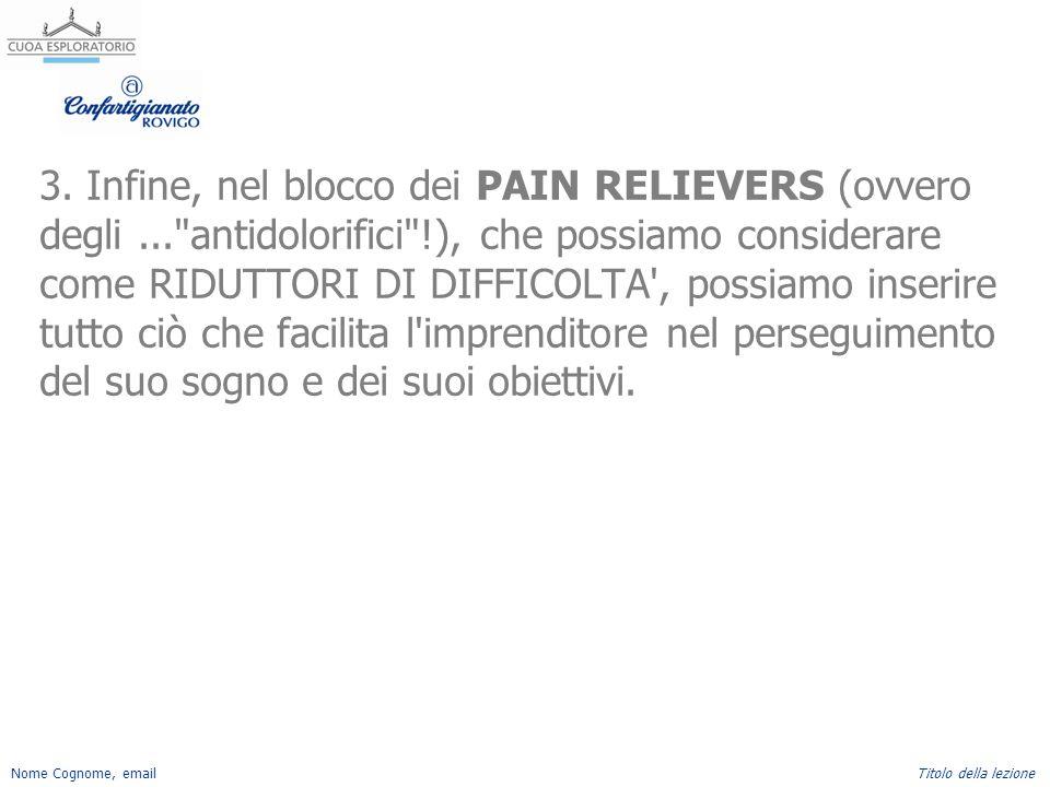 3. Infine, nel blocco dei PAIN RELIEVERS (ovvero degli