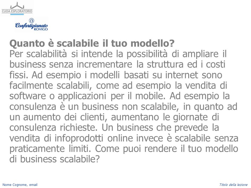 Quanto è scalabile il tuo modello
