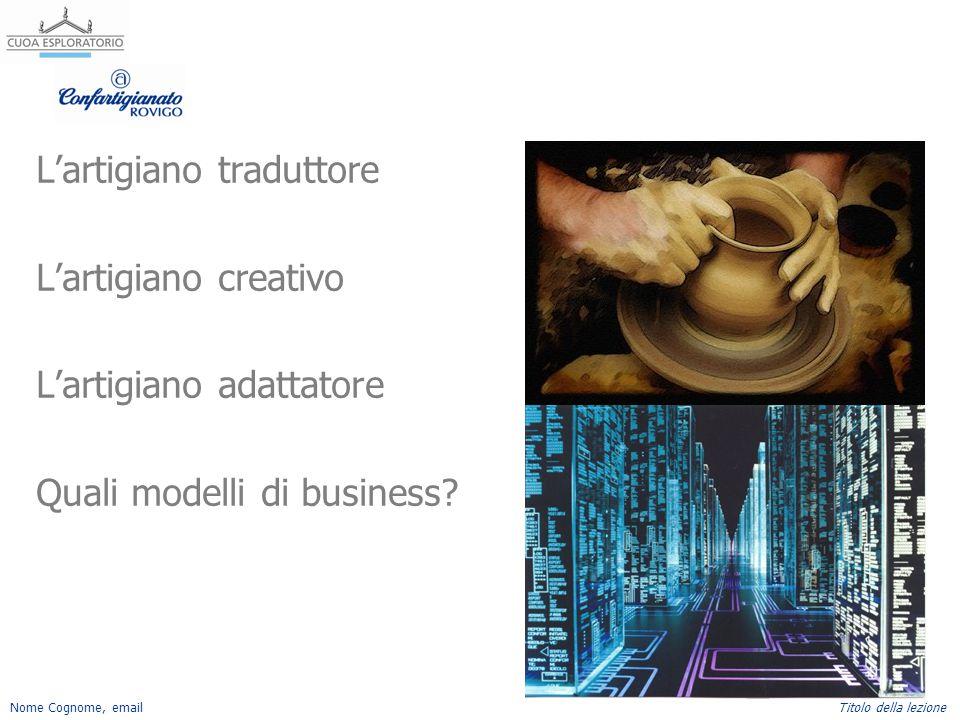 L'artigiano traduttore L'artigiano creativo L'artigiano adattatore Quali modelli di business