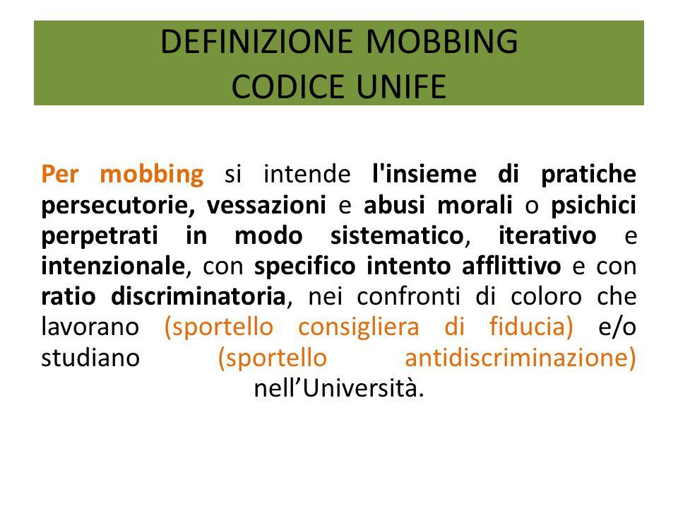 DEFINIZIONE MOBBING CODICE UNIFE