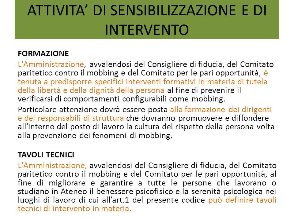 ATTIVITA' DI SENSIBILIZZAZIONE E DI INTERVENTO