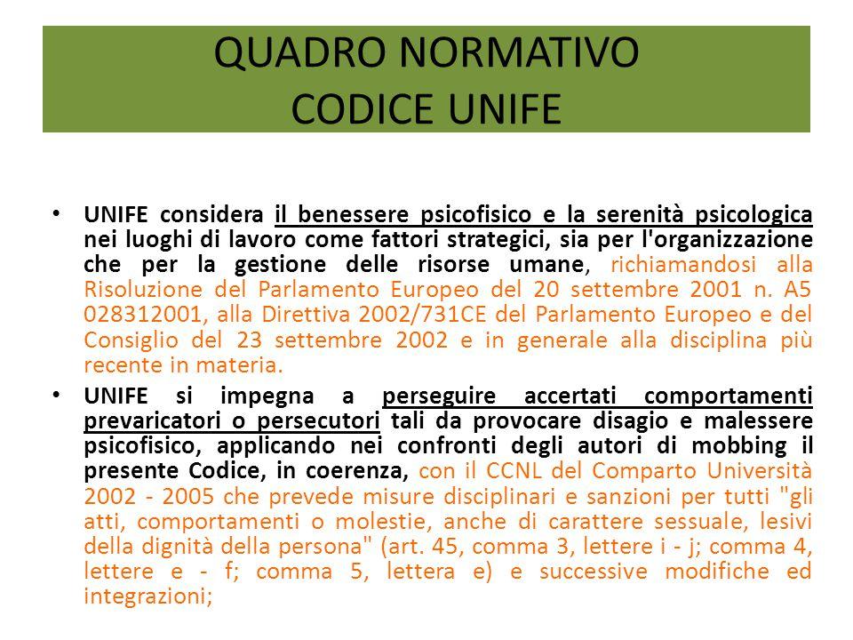 QUADRO NORMATIVO CODICE UNIFE