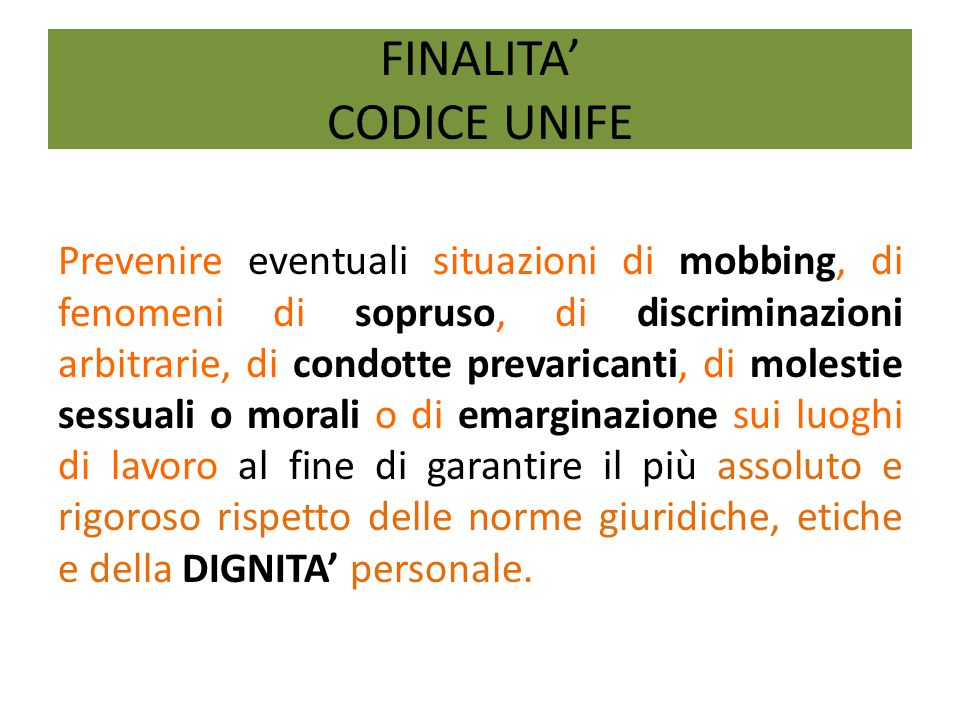 FINALITA' CODICE UNIFE
