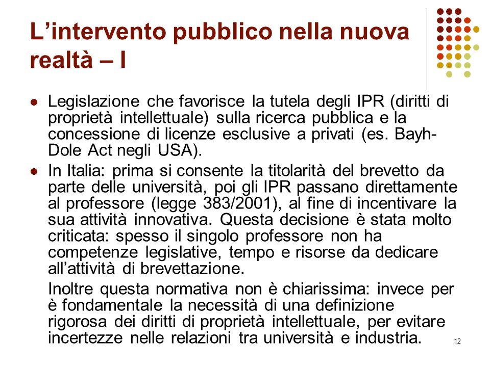 L'intervento pubblico nella nuova realtà – I