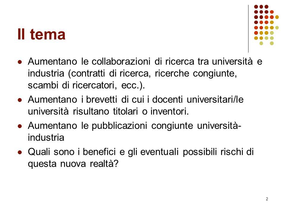 Il tema Aumentano le collaborazioni di ricerca tra università e industria (contratti di ricerca, ricerche congiunte, scambi di ricercatori, ecc.).