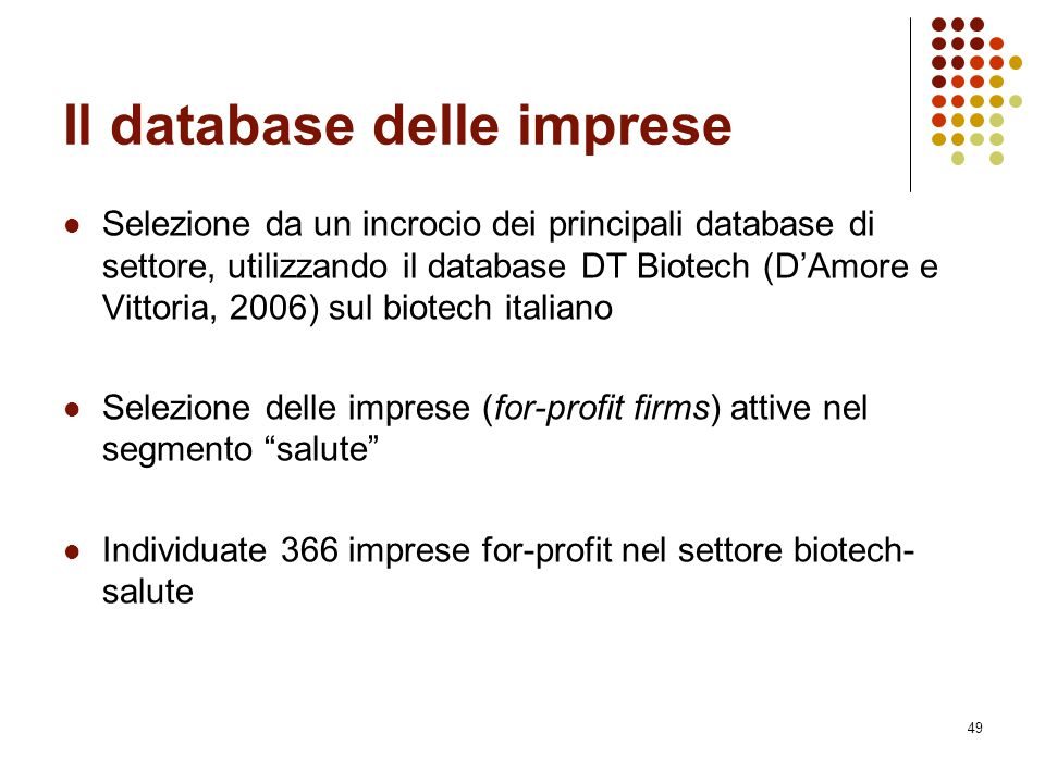 Il database delle imprese