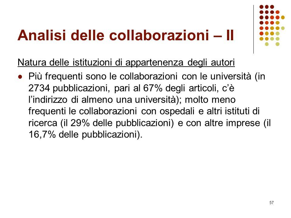 Analisi delle collaborazioni – II