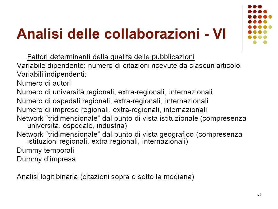 Analisi delle collaborazioni - VI
