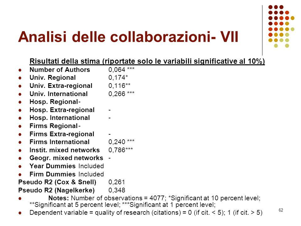 Analisi delle collaborazioni- VII