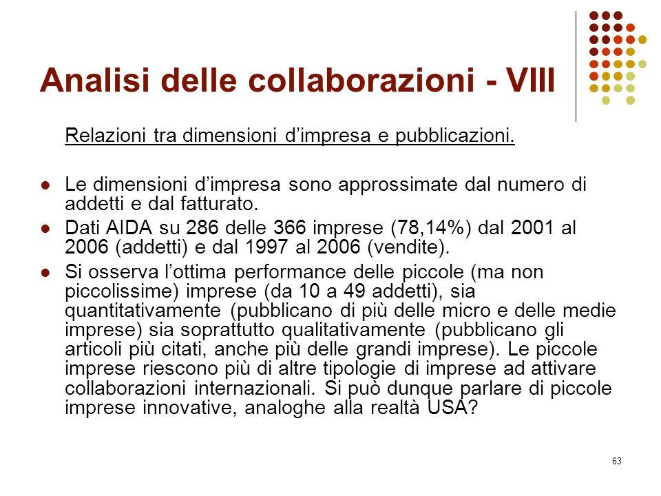 Analisi delle collaborazioni - VIII