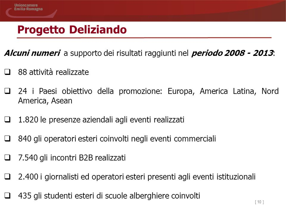 Progetto Deliziando Alcuni numeri a supporto dei risultati raggiunti nel periodo 2008 - 2013: 88 attività realizzate.