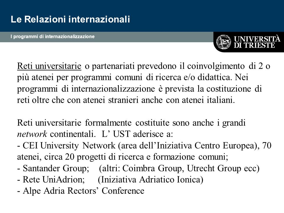 Le Relazioni internazionali