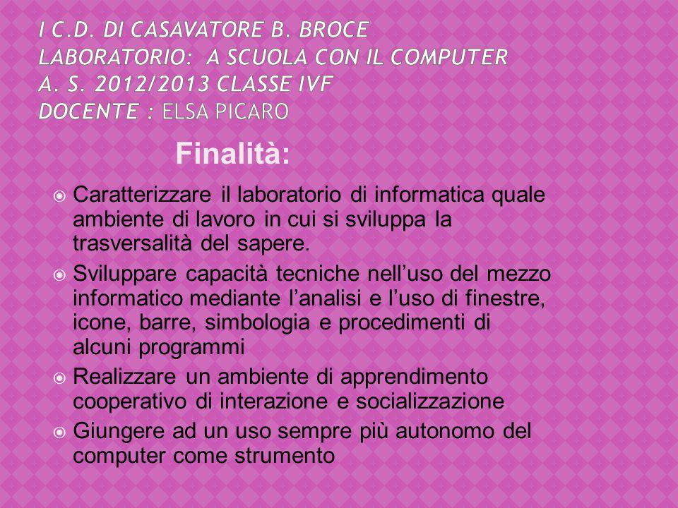 I C. D. di Casavatore B. Broce Laboratorio: A scuola con il computer a