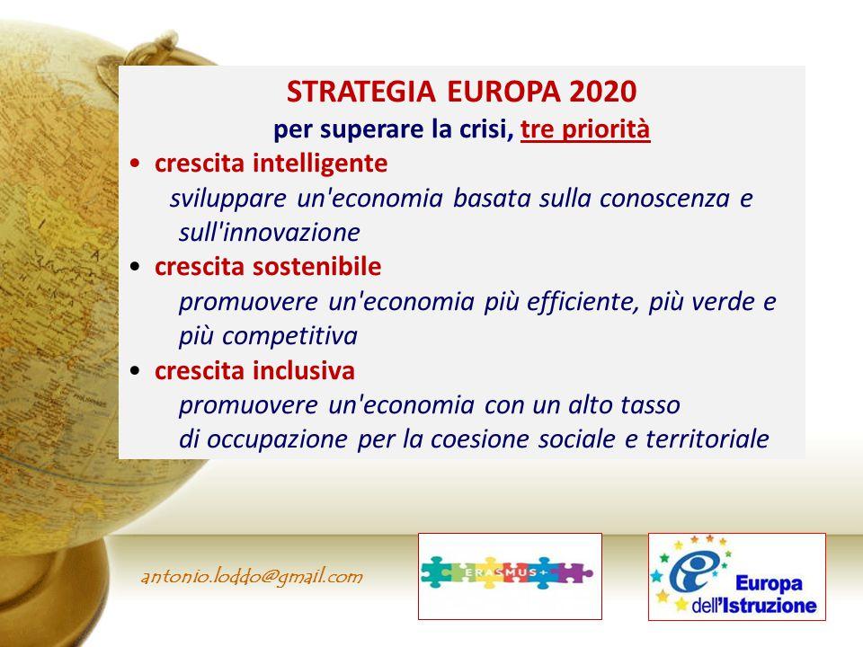 per superare la crisi, tre priorità Il nuovo programma di cooperazione