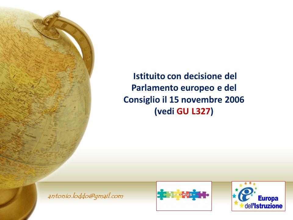 Istituito con decisione del Parlamento europeo e del Consiglio il 15 novembre 2006 (vedi GU L327)