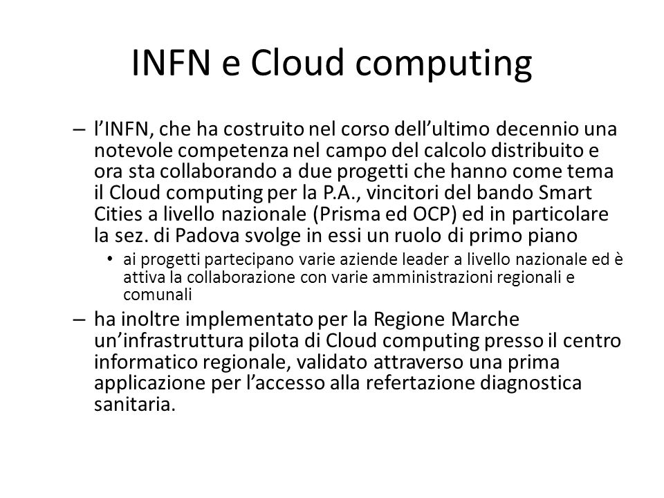 INFN e Cloud computing
