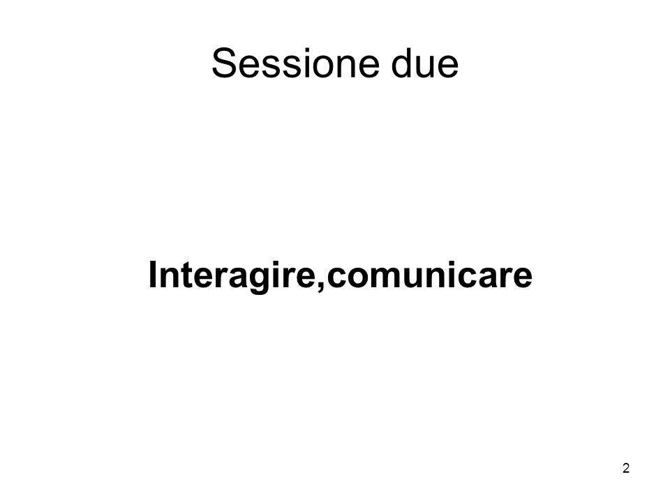 Sessione due Interagire,comunicare