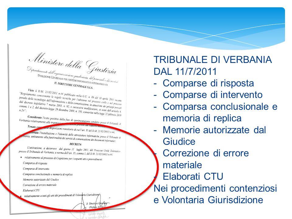 TRIBUNALE DI VERBANIA DAL 11/7/2011. Comparse di risposta. Comparse di intervento. Comparsa conclusionale e memoria di replica.