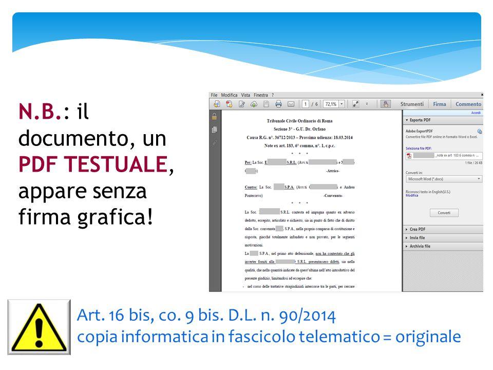 N.B.: il documento, un PDF TESTUALE,