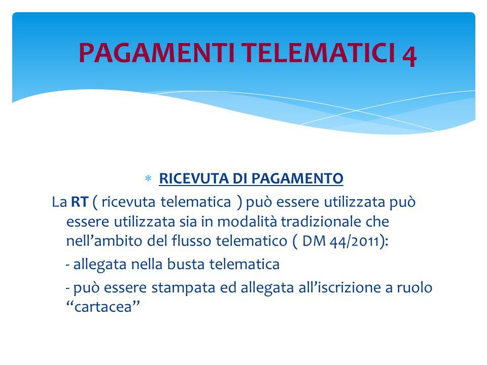 PAGAMENTI TELEMATICI 4 RICEVUTA DI PAGAMENTO