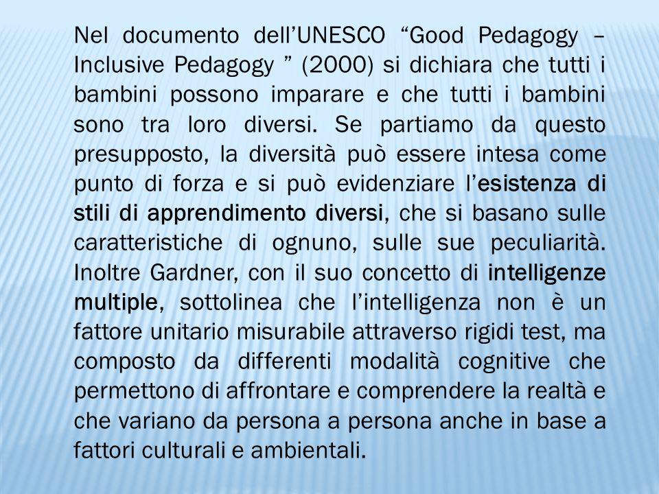 Nel documento dell'UNESCO Good Pedagogy – Inclusive Pedagogy (2000) si dichiara che tutti i bambini possono imparare e che tutti i bambini sono tra loro diversi.