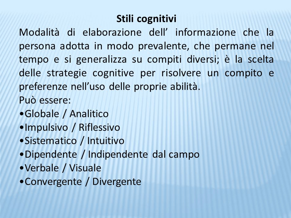 Stili cognitivi