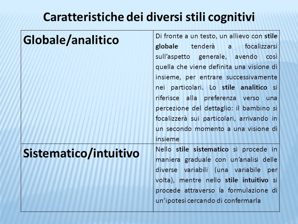 Caratteristiche dei diversi stili cognitivi