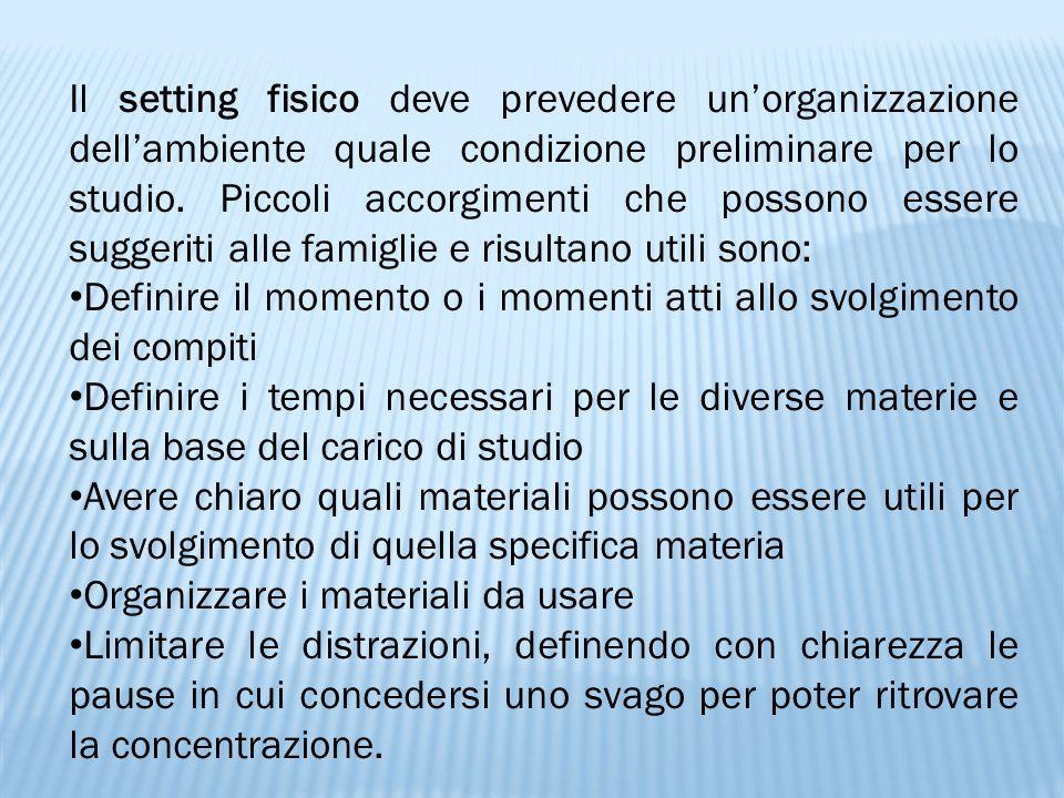 Il setting fisico deve prevedere un'organizzazione dell'ambiente quale condizione preliminare per lo studio. Piccoli accorgimenti che possono essere suggeriti alle famiglie e risultano utili sono: