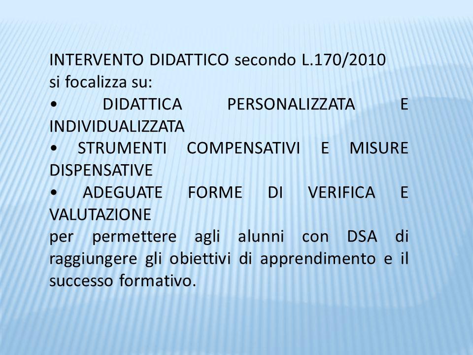 INTERVENTO DIDATTICO secondo L.170/2010