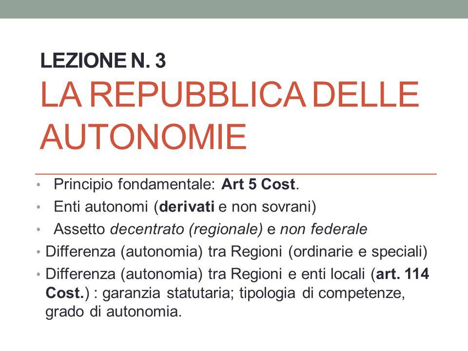 Lezione n. 3 La repubblica delle autonomie