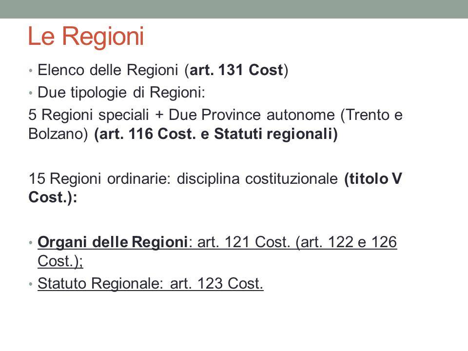 Le Regioni Elenco delle Regioni (art. 131 Cost)