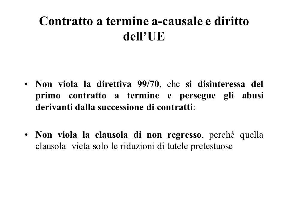 Contratto a termine a-causale e diritto dell'UE