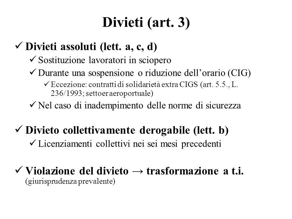 Divieti assoluti (lett. a, c, d)