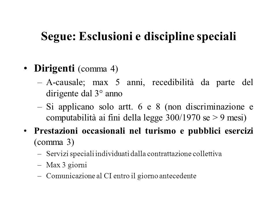 Segue: Esclusioni e discipline speciali
