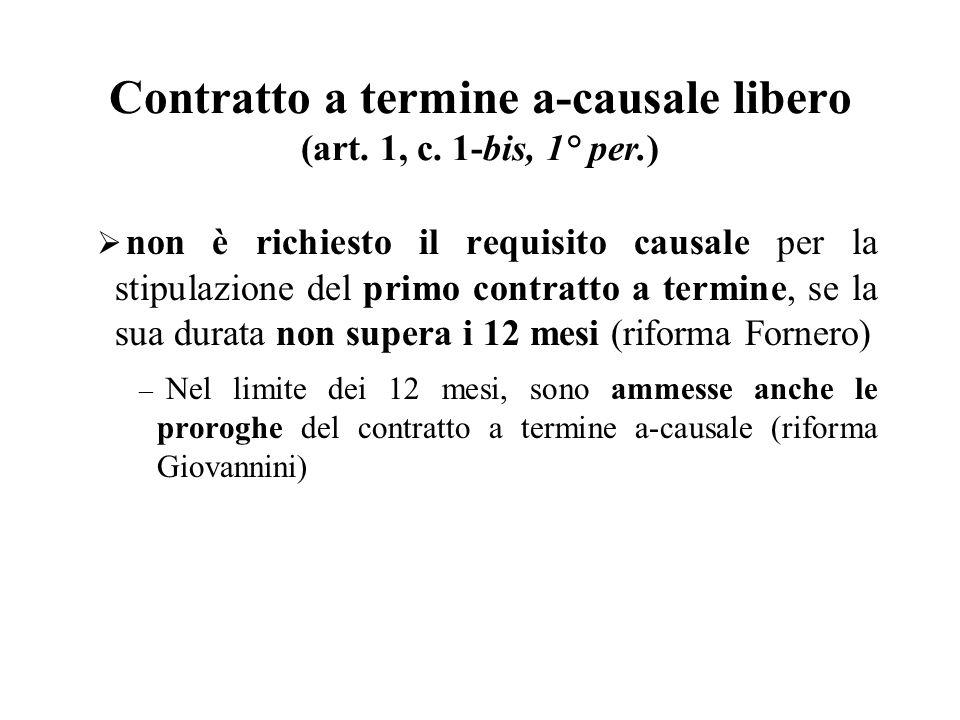Contratto a termine a-causale libero (art. 1, c. 1-bis, 1° per.)
