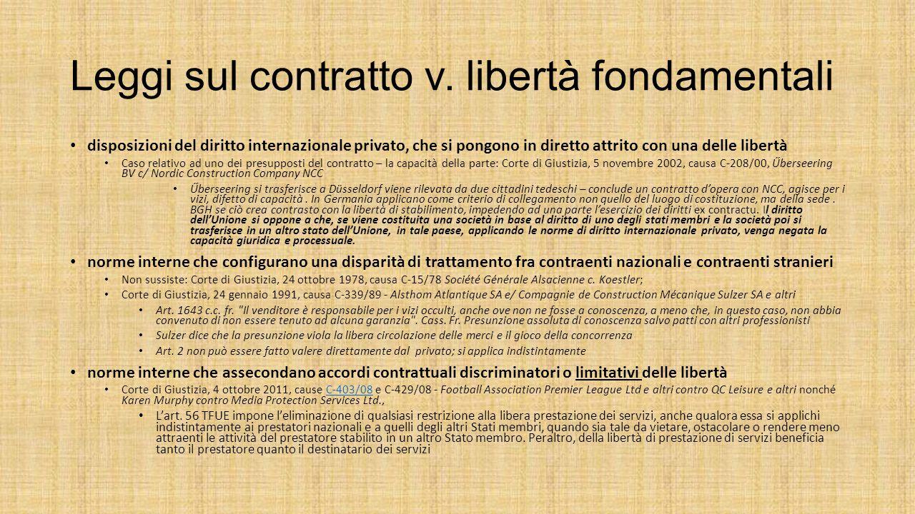 Leggi sul contratto v. libertà fondamentali